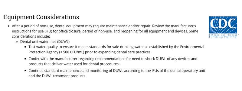 CDC COVID19 Recommendations for Dental Unit Waterlines_Graphic